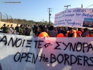 Lesvos protest 5 novembre 2015